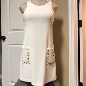 Amanda Uprichard Ivory Gold Sleeveless Dress S